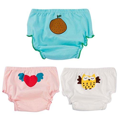 JEELINBORE JEELINBORE Baby Mädchen Rüschen Unterhosen Ruffle Panties Briefs Höschen Unterwäsche, 3er Pack   für 1-5 Jahre (Stil1 Eule(3PCS), 120)