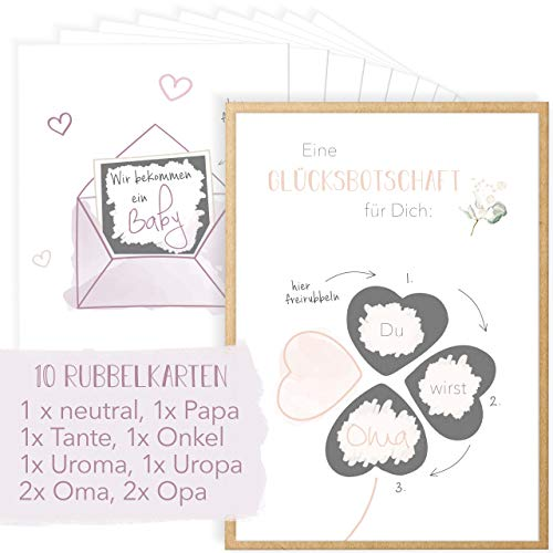 Mintkind® kraskaart - Wij krijgen een baby + Je zult papa, oma, opa, tante, oom, uropa | betoverend cadeau-idee voor de zwangerschap vervaardigen | postkaarten set met geluksboodschappen om vrij te krassen, incl. envelop
