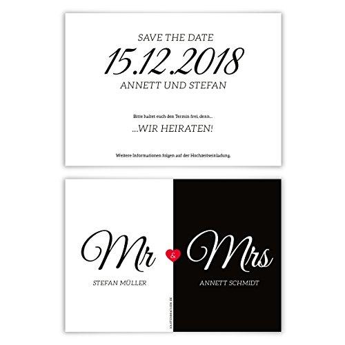 40 x Hochzeit Save the Date Karten Hochzeitskarten individuell - Mr. & Mrs.