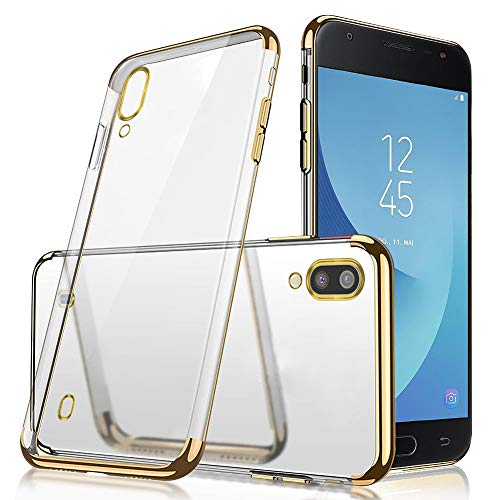 QPOLLY Kompatibel mit Samsung Galaxy M10 Hülle Glänzend Kristall klar Silikon TPU Schutzhülle Überzug TPU Durchsichtig Handy Tasche Ultra Dünn Soft Silikon Handyhülle Case,Gold