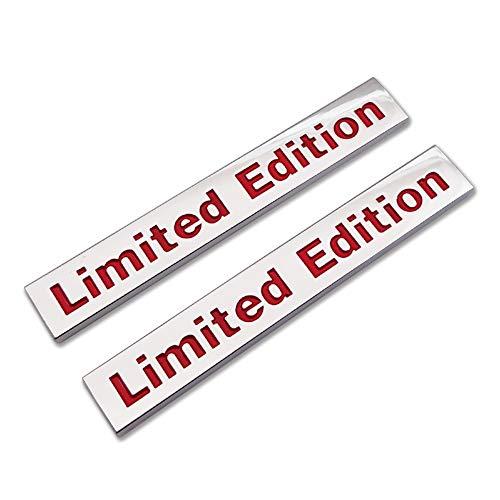 2x Chrome Metal Limited Edition Logo Emblem Auto Badge 3D Premium Car Rear Trunk Sticker Side Fender Decal (Silver&Red)