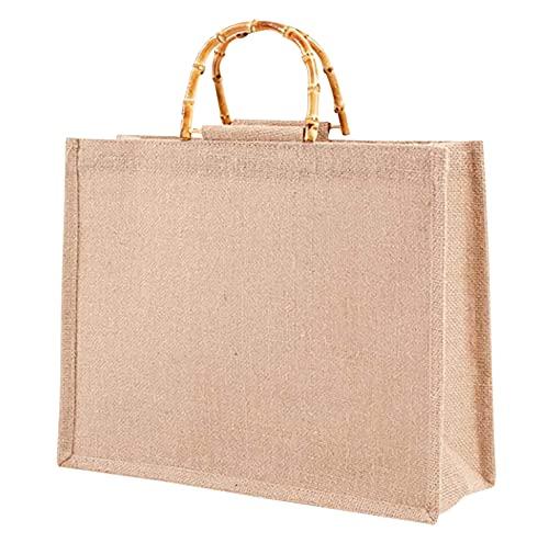 Phantasy】Borsa Juta con manico in bambù artistico impermiabile, borsa da donna in iuta ,Borsa per la Spesa portatile ( L = 39*31*15cm )
