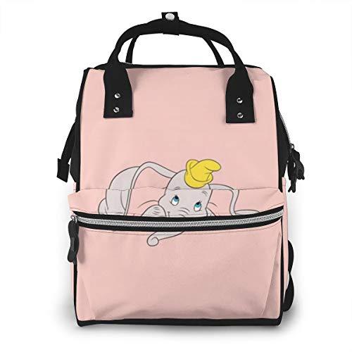 Bolsa de pañales Dumbo rosa, bolsa de bebé para mamá, mochila multifunción de gran capacidad de viaje