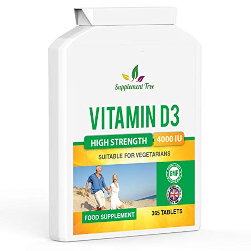 Vitamin D 4000IU 365 Vegetarian Tablets | High Strength Cholecalciferol Vitamin D3 Supplement | UK Manufactured