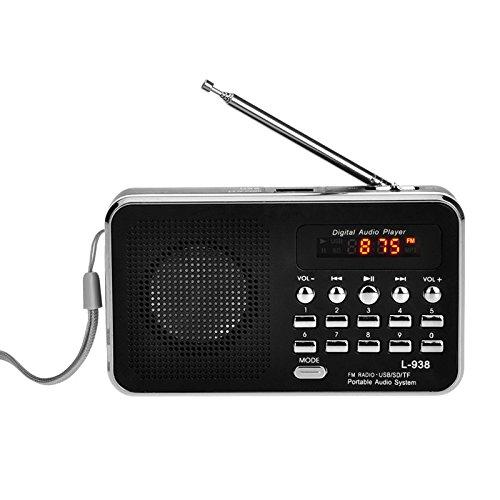 iMinker Mini-Digital-beweglicher FM Radio tragbares Lautsprecher MP3-Musik-Spieler TF/SD Karte USB-Scheiben-Hafen für PC iPod-Telefon mit LED-Anzeige und Akku (Schwarz)