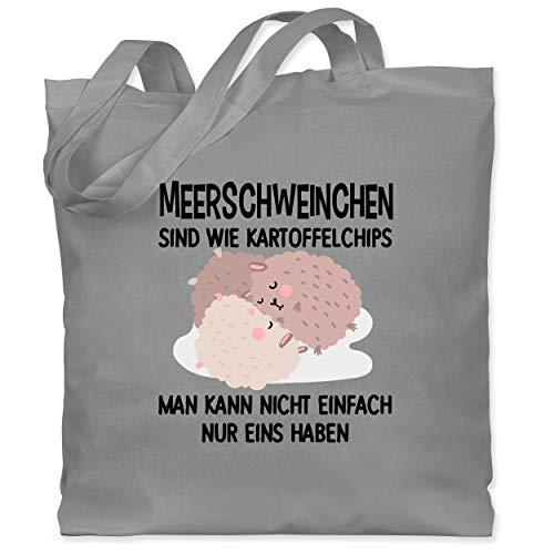 Shirtracer Statement - Lustiges Meerschweinchen Motiv - Unisize - Hellgrau - stoffbeutel meerschweinchen - WM101 - Stoffbeutel aus Baumwolle Jutebeutel lange Henkel