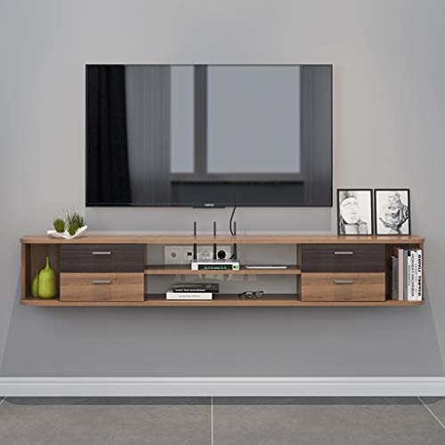 Mueble TV de pared Mueble de pared colgante Estante de la pared Estante flotante Set top box enrutador Estante de almacenamiento Juguete foto estante de exhibicion Con cajon Consola de TV