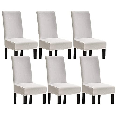 Fundas para sillas de Comedor Seersucker Fundas para sillas de Comedor, Fundas elásticas para sillas, Fundas elásticas para sillas, para Comedor, Lavables a máquina para Cocina, hoteles, Blanco, jueg