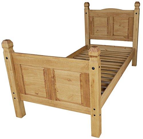 Brasilmöbel® Bett Rio Classico 90 x 200 cm - Pinie Massivholz Honig - in vielen edles Pinienholz - massiv aus nachhaltiger Forstwirtschaft - Schlafzimmer Pinienmöbel