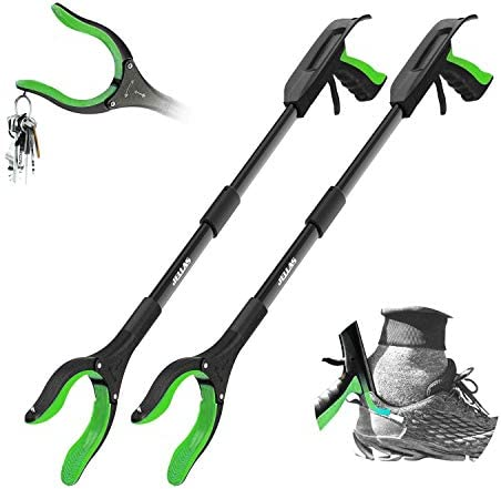 Jellas 2 Pack 32 Inch Grabber Reacher Tool with Shoehorn 90 Rotating Head Grabber Tool for Elderly product image