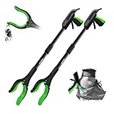 Jellas 2-Pack 32 Inch Grabber Reacher Tool with Shoehorn, 90° Rotating Head Grabber Tool for Elderly, Outdoor and Indoor Trash Picker Grabber(Green)