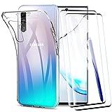 KEEPXYZ Funda para Samsung Galaxy Note 10 + 2 Pcs Protector de Pantalla para Cristal Templado, Flexible Silicona Transparente TPU Antigolpes Carcasa + Vidrio Templado para Samsung Galaxy Note 10