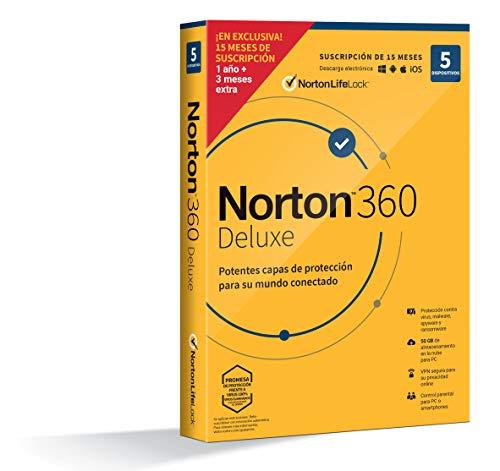 Norton 360 Deluxe 2021 - Antivirus software para 5 Dispositivos y 15 meses de suscripción, Secure VPN y Gestor de contraseñas, para PC, Mac tableta y smartphone