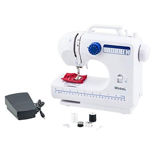 Winkel Machine à Coudre Blanc Electronique 12 points SW45, Couture pour Débutant et Amateur, Portable, Multifonctions, Ajustable 2 vitesses, Manuelle ou à pédale,...