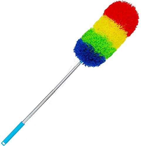 "Microfiber Duster with Extension Pole and Bendable Head Wet or Dry Use - 18"" to 48"" - Extendable Duster for Cleaning High Ceiling Fan, Interior Roof, Cobweb, Gap Dust"