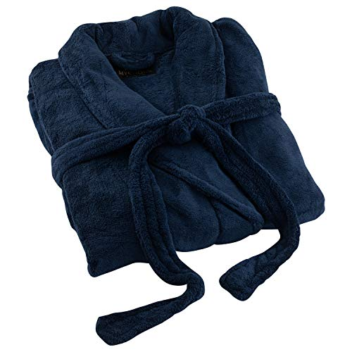 Victoria Valenti Collection Royal Mystique Navy Blue Bathrobe Extra-Soft One-Size