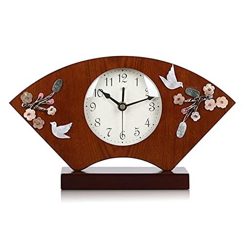 Reloj De Escritorio Reloj de mesa Reloj de cuarzo Nuevo Reloj en forma de ventilador de madera de silencio chino para sala de estar Estilo chino SHELL RELL Dormitorio Despertador De Escritorio