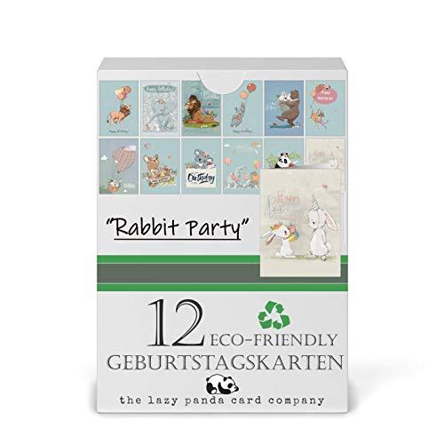 Geburtstagskarten Set - 12 umweltfreundliche Karten und Kraft Umschläge aus recyceltem Papier, Kindergeburtstagskarten, Geburtstagskarten für Erwachsene
