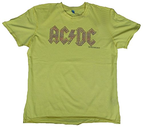 Amplified T-Shirt pour Homme Jaune Lemon Official AC/DC ACDC Merchandise Or Rouge Strass schrif Train Rock Star Vintage Coutures extérieur Club VIP Ro