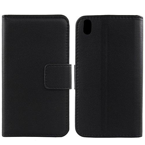 "Gukas Design Genuino Cuero Case para Energy Phone Pro 4G Pearl 5"" Flip Billetera Funda Carcasa De Lujo Autentico Ranuras Tarjetas Piel Premium Cover (Negro)"