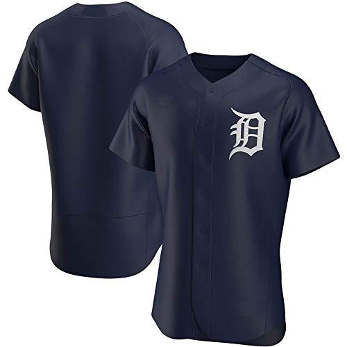 GMRZ MLB Jersey, T-Shirt Mit Detroit Tigers Logo Design Major League Baseball Team Sportbekleidung Fans Jersey Männer Und Frauen,Blau,XL