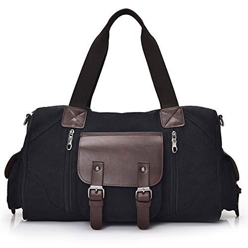 LOGGO Canvas Duffle Bag for Travel, Canvas Leather Travel Tote Duffel Shoulder Handbag Bag, Messenger Bag for Travel Leisure Office Daily School (Color : Black)