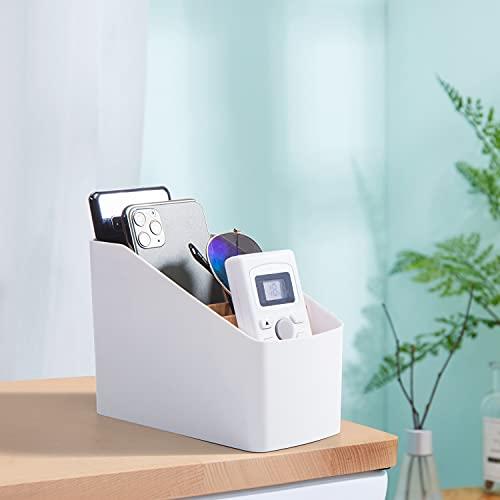 J TOHLO Soporte para Mando a Distancia con 4 Compartimentos Organizador de Escritorio Titular del Control Remoto para Accesorios de Medios para DVD, BLU-Ray, TV, Roku o Apple TV