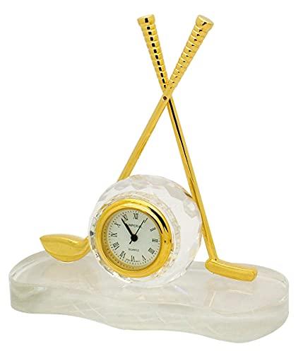 GTP Señoras miniatura de golf CLub y bola de cristal y chapado en oro accesorios de aleación novedad coleccionistas reloj IMP512