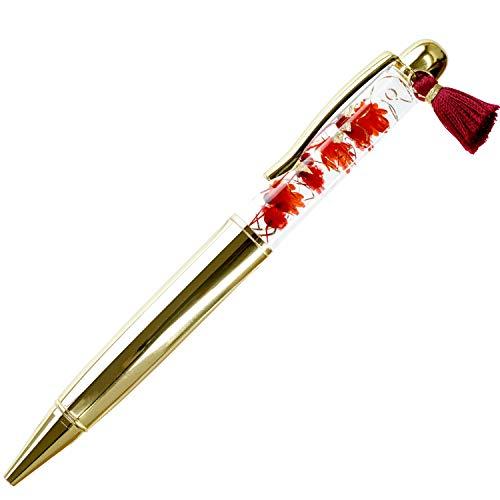 花まりか ハーバリウム ボールペン 替え芯付き 和風ハーバリウムボールペン ギフトBOX プレゼント (紅(くれない))