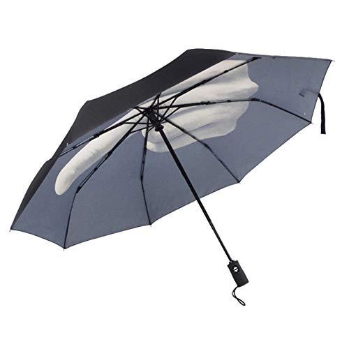 WGG Divertido Paraguas De Dedo Medio, Paraguas De Viaje Automáticos De Tres Pliegues Que Se Pueden Plegar para Hombres/Mujeres, Regalos, Sombrilla Portátil Soleada Y Lluviosa