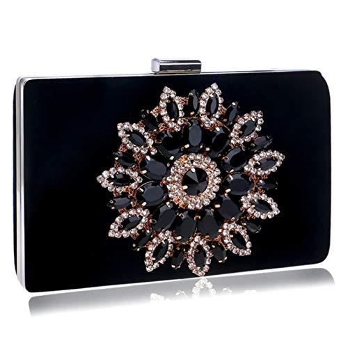 MAODA Bolsos de mujer con diamantes de imitación de flores, rojo, negro, púrpura, dorado, con cadena, bolsos de hombro, bolsos de mano de metal para el día, monedero, carteras de boda-YM1061black