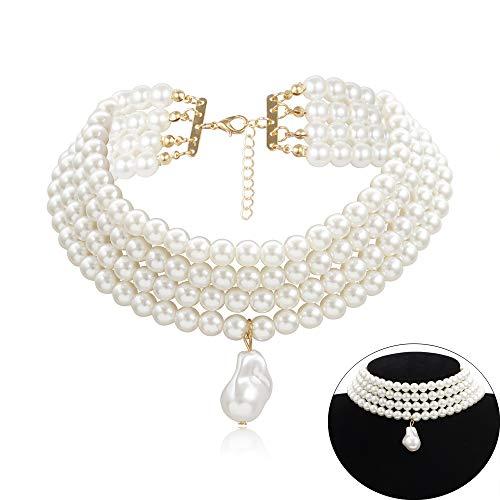 Daimay Gargantillas de Perlas simuladas Collar de Perlas Multicapa múltiples Hilos Llamativo Gargantilla Nupcial para la joyería del Banquete de Boda Flapper de los años 20 para Fiesta Redondo