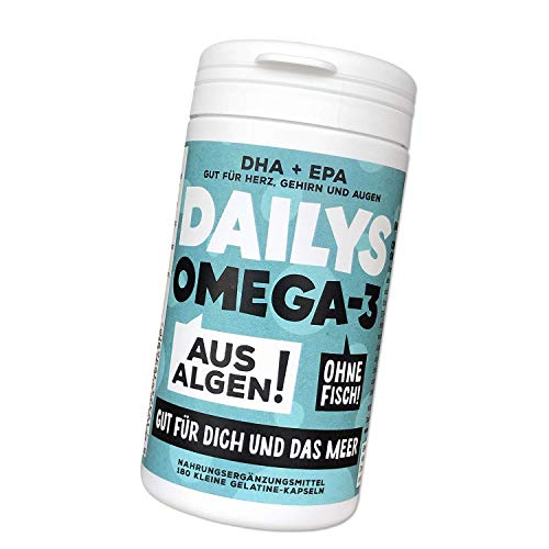 Omega 3 Kapseln - 180 Kapseln im 3 monatsvorrat - Premium mit den Omega 3 Fettsäuren EPA und DHA – Pflanzenbasiertes DHA und EPA aus Algenöl