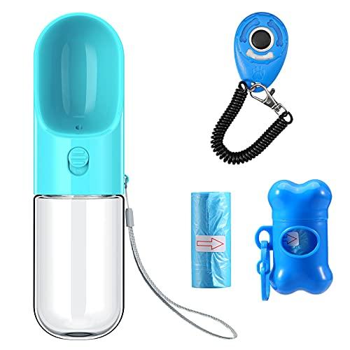 ウォーターボトル 給水器 犬猫など 水飲み器 ペットボトル 携帯用 散歩用 ランニング アウトドア 外出 ドライブ 旅行 水槽付き 水漏れ防止 手軽に水分補給が出来 ボタン1つで給水可能 400ML ブルー