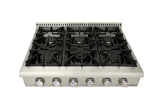 Thorkitchen Pro-Style Gas Rangetop with 6 Sealed Burners 36 - Inch, Stainless Steel HRT3618U 4 2 Year Parts and Labor CSA Certified 304 stainless steel