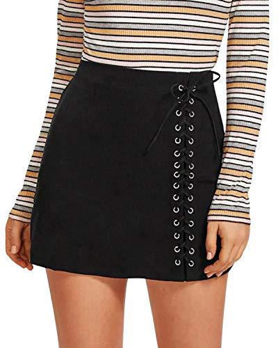 CNFIO Mujer Faldas Elegantes De Cintura Alta Slim Fit Moda Vintage Punk Faldas Cortas Minifalda...