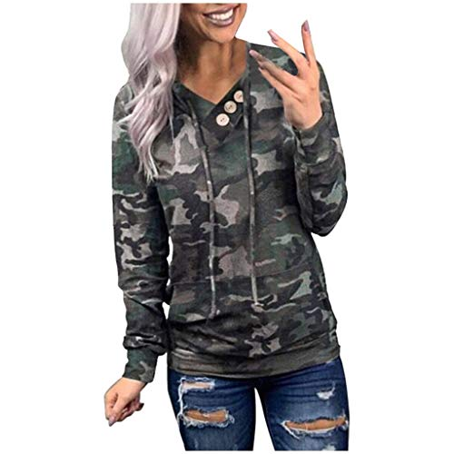 Women Leopard/Camos/Snake Print Long Sleeve Pocket Drawstring Hoodie Tops White XXL Tops and Blouse for Woman
