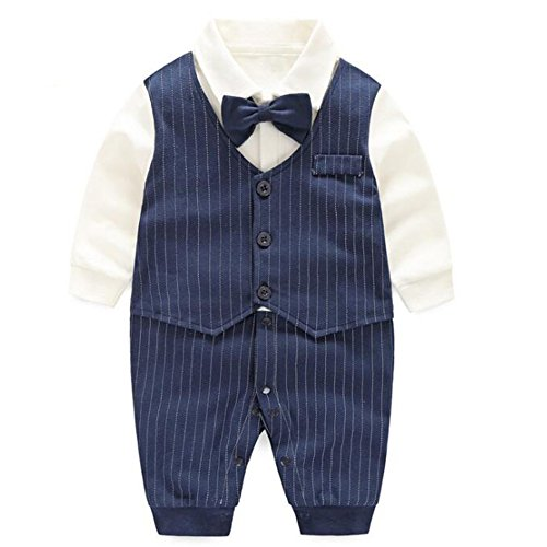 Fairy Baby Baby Boy's One Piece Long Sleeve Gentleman Formal Outfit,6-9M,Navy Blue Stripe