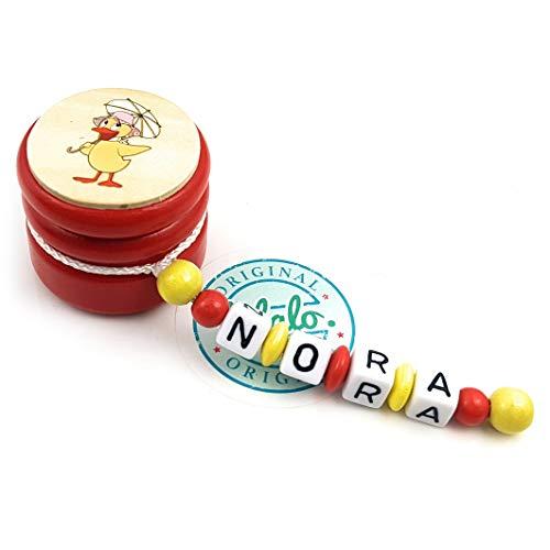 LALALO Zahndose mit Namen, Sandmann, Zahnbox Holz Milchzähne Box Gravur, Milchzahndose Zahndöschen für Kinder personalisiert (Ente Schnatterinchen, Rot Gelb)