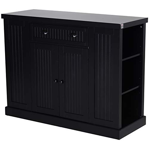 HOMCOM Fluted-Style Wooden Kitchen Island Storage Cabinet with Drawer, Open Shelving, and Interior Shelving, Black