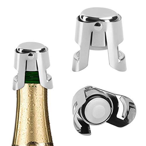 Sektverschluss,T-Buy Sektflaschenverschluß,flaschenverschluss Edelstahl Stopper für Weinflaschenverschluss Prosecco,Sekt Weinverschluss(2 Pack)