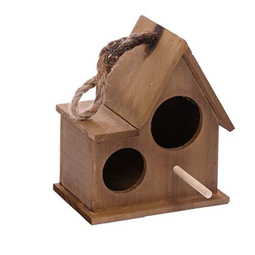 NYKK Birdhouses/Bird Cage Garden Wooden Bird Cage Home Balcony Bird Decoration Bird Bird Parrot Cage Wall Hanging Pendant Bird House Bird Cages for Small Birds (Color : Brown, Size : L)