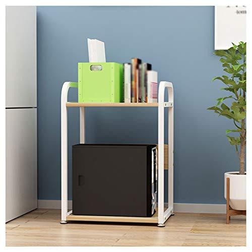 Soporte para Impresora Piso de piso de 2 capas soporte de pie de metal marco fijo oficina escáner de fax estantería cocina multifuncional especia almacenamiento estante (negro) Organizador de Escritor