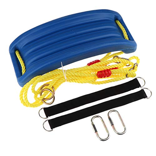 SM SunniMix Asiento de Columpio para Niños Al Aire Libre con Cuerdas de Kits de Hardware para El Juguete de Verano Park Garden - Azul