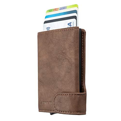 LUNGEAR Tarjetero para Tarjeta de Crédito con Bloqueo RFID, Hombre Cartera Pequeña de Cuero Automatico Pop Up para 4-8 Tarjetas & Billetes - Mocha