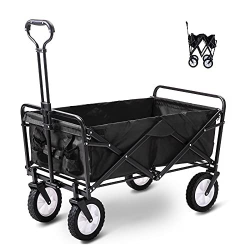 Garden Trolley with Wheels Heavy Duty Foldable Pull Wagon Hand Cart...