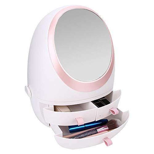 Boîte de rangement pour cosmétiques, organisateur de maquillage anti-poussière de grande taille Boîtes de présentation de stockage cosmétique avec miroir pour salle de bain, vanité et comptoir