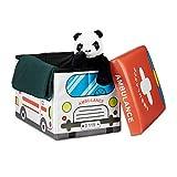 Relaxdays Faltbare Spielzeugkiste Krankenwagen HBT 32 x 48 x 32 cm stabiler Kinder Sitzhocker als Spielzeugbox Kunstleder mit Stauraum ca. 37 l und Deckel zum Abnehmen für Kinderzimmer, Ambulance