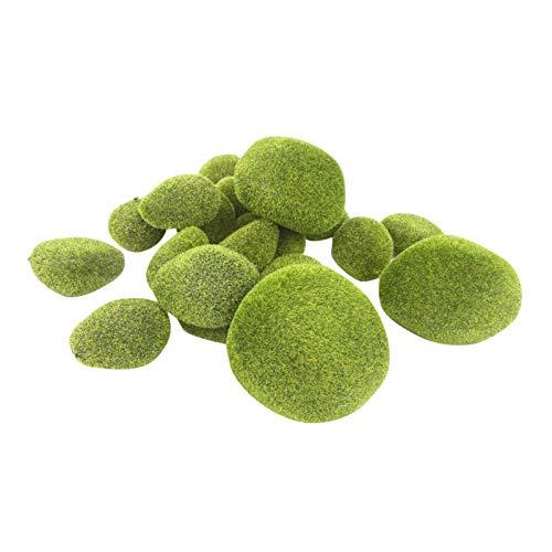 8 Pcs Artificial Moss Rocks Decorative Faux Green Moss Covered Stones Fake Moss Balls for Garden Decor DIY Floral Arrangements Decoration, 4 Size