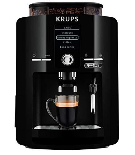 Krups EA82F0 - Cafetera Superautomática 1450 W, 15 bares, 1,7 L, Pantalla LCD, Molinillo cónico de metal integrado, Programa de limpieza automático. Sistema de filtro de agua. Tecnología Quattro Force